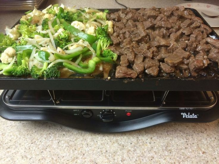 Beef stir fry... That's what's for dinner! YUM!!! ~  Create memorable meals or parties with the Velata Raclette Tabletop Grill. Borrowing a centuries-old Swiss tradition, the Velata Raclette is an easy-to-use appliance that allows you to cook delicious meals at the table. https://barbaravolkema.velata.us