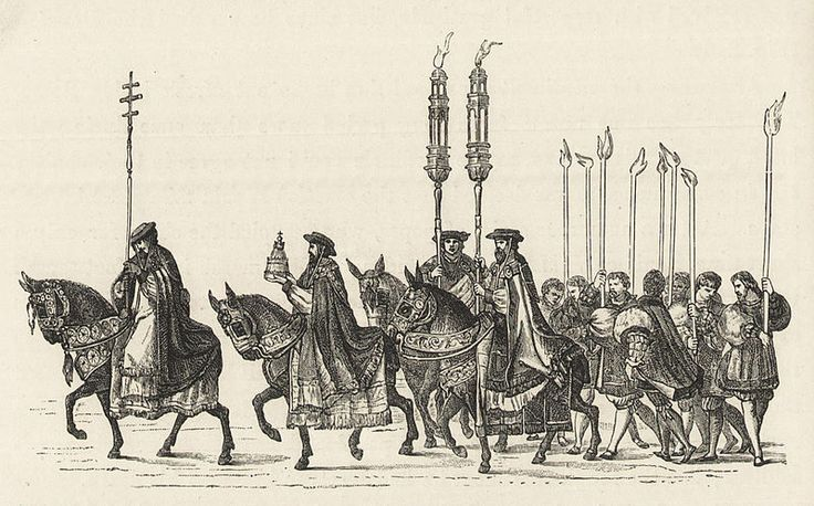 Solemn entry of emperor Charles V and pope Clement VII into Bologna, November 5th, 1529.The persons at the head of the cortége are the great dignitaries of the Church, the first bearing the pastoral staff,the 2nd the pontifical tiara,and the two others golden candelabra. The taper bearers precede the holy sacrament (see the next engraving).Military and religious life in the Middle Ages and at the period of the Renaissance (1870)