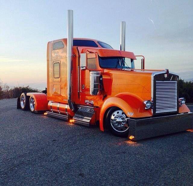 Trucks Custom Big Rig Orange : Best big rigs with bunks images on pinterest car