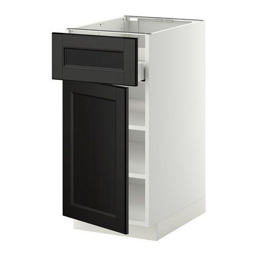 METOD / MAXIMERA Unterschr m Einlboden/Schubl/Tür - Laxarby schwarzbraun, 40x60 cm - IKEA