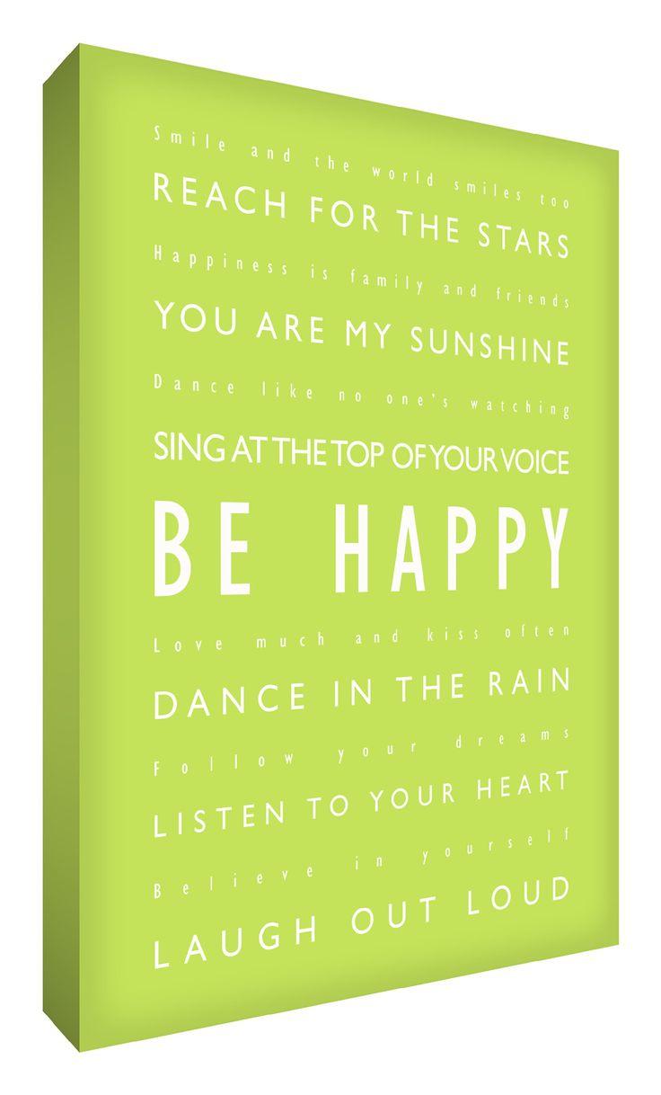 Feel Good Art - Quadro a profilo spesso in formato A1, ca. 91 x 60 cm, con scritte in stile tipografico, motivo: Be Happy, colore: Verde lime [lingua inglese]: Amazon.it: Casa e cucina
