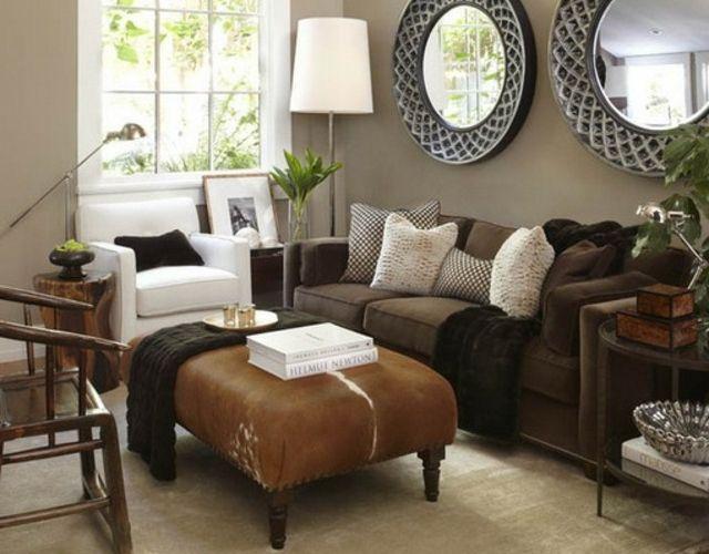 peinture-salon-marron-clair-canapé-marron-ottoman peinture salon marron
