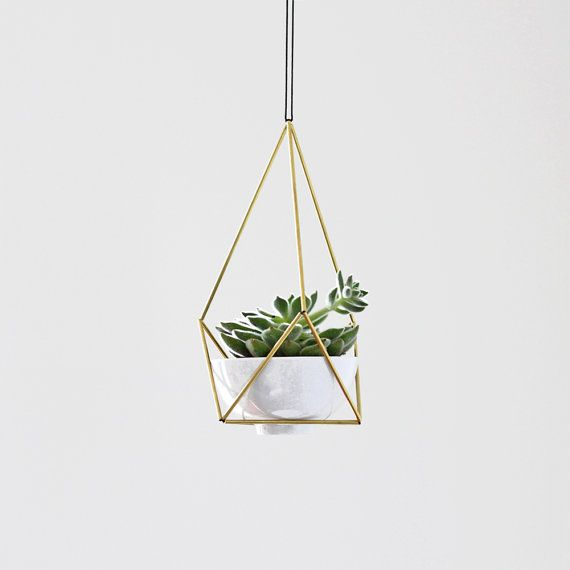 Brass Himmeli Hanging Planter no. 3 with Cup