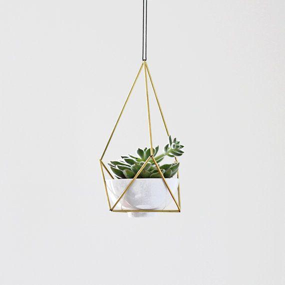 Laiton Himmeli suspendus planteur N3 avec tasse / petite usine moderne cintre / géométrique Terrarium / décoration maison minimaliste