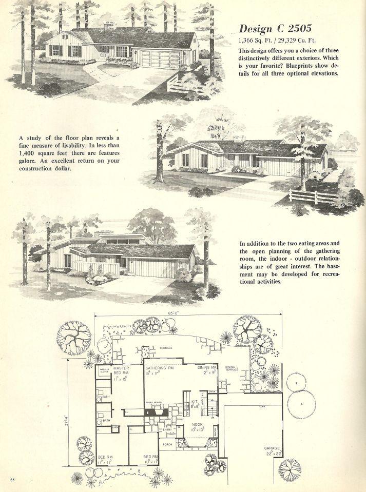 vintage l shaped house plans 1960s homes mid century different facades - Vintage Farmhouse Plans