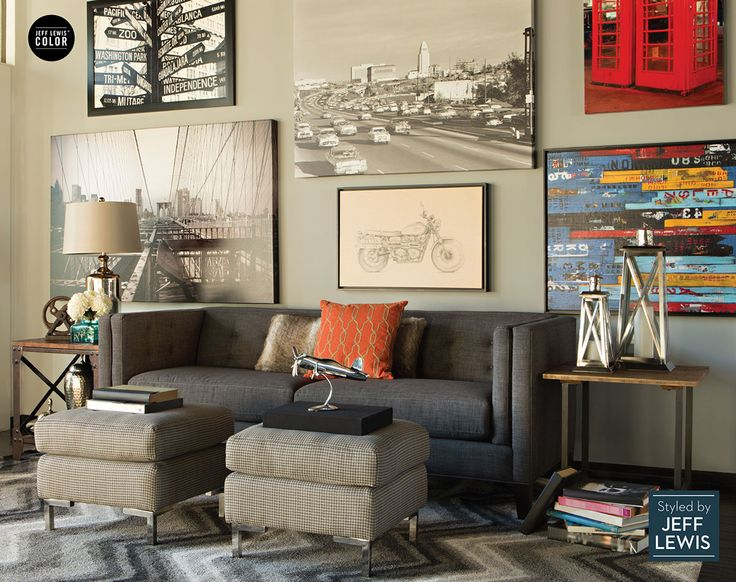 Muted And Bold Tones Patterns Images Intermingle To Create A Rather Masculine Space Lorelai Sofa Styled By Jeff Lewis Living Spaces