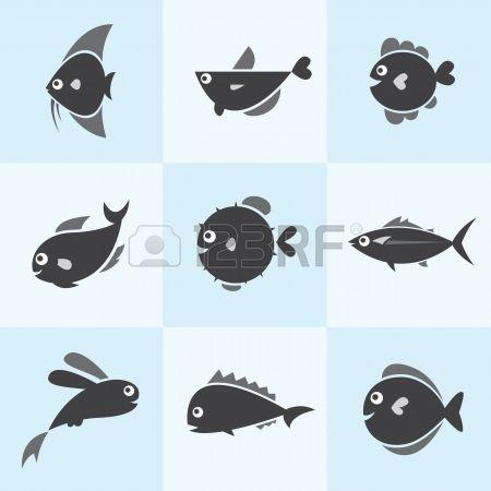 Set von Vektor-Icons Fisch auf blauem Hintergrund