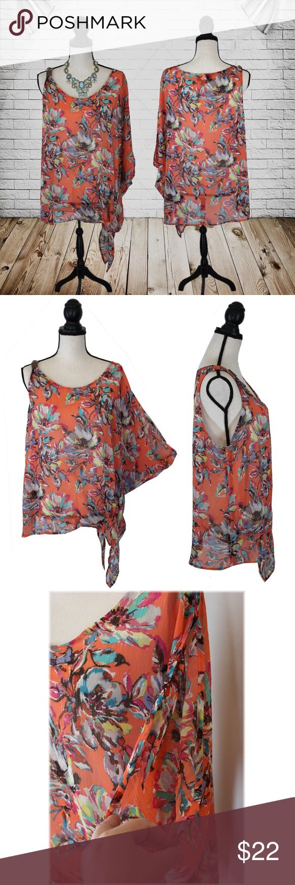 """""""Plus"""" Lane Bryant Batwing/Open Shoulder Top What a sexy and fun shirt!   * Colors - Black, white, orange, blue, pink, purple, green, yellow  * One side strap is thin and has a bronze detailed piece * One side has a batwing and open shoulder * Ties in front on side  * Rather sheer- you will want to wear tank underneath  * Not much stretch  * 100% polyester   MEASUREMENTS (Approximate)  * Armpit to pit 25"""" * Waist & Hips 54"""" * Length 28""""  This top by Lane Bryant is brand new without tags and…"""