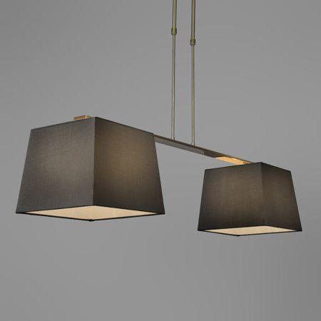 pendelleuchte combi delux 2 schirm quadratisch 30cm schwarz pendelleuchte lampe esstischlampe. Black Bedroom Furniture Sets. Home Design Ideas