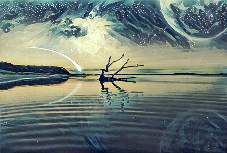 Fantasy landscape Illustration artwork - Lake and and Hills with driftwood reflecting in the water, huge planet in the sky, galaxy and comet