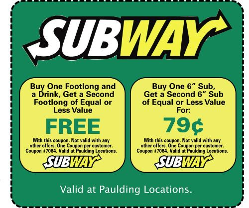 4 active Subway Coupons & Discounts Visitors save an average of $; Subway special offers are the best discount options that can be use freely by anyone. You can find the best of Subway deals at online website relbornbingzarword.gq You can find the highest valued Subway deals and also a Buy 1 Get 1 free Subway offer here.