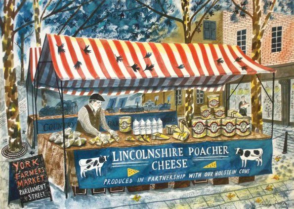'Lincolnshire Poacher Cheese' by Emily Sutton (ink and watercolour on paper)