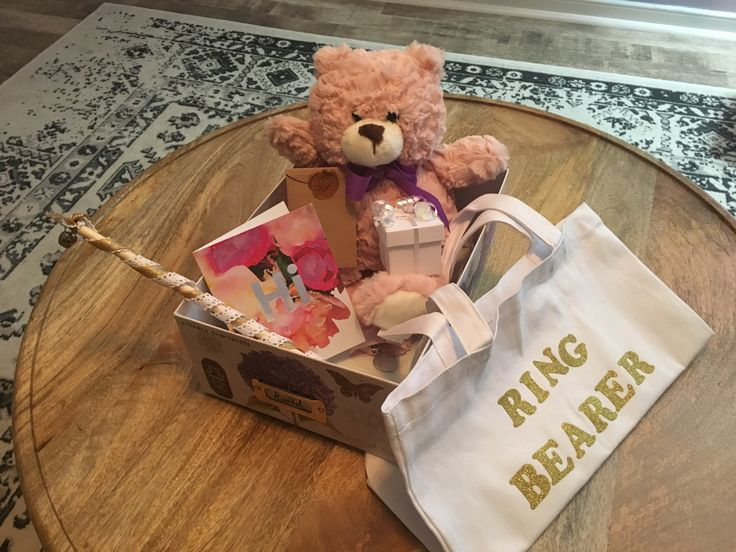 An invitation box for a ring bearer. There is no feminine swag for a little girl ring bearer. Box includes: teddy bear and a ring box with a ring pop inside.
