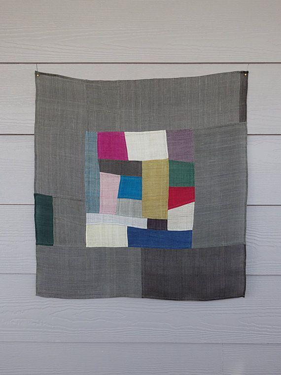 pojagi bojagi korean patchwork wall hanging by Laughingneedle