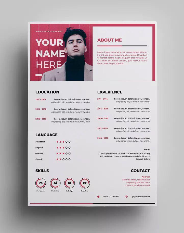 Resume Design Templates Ai Eps A4 Paper Size Download Modele De Cv Creatif Modele Cv Mise En Page Cv