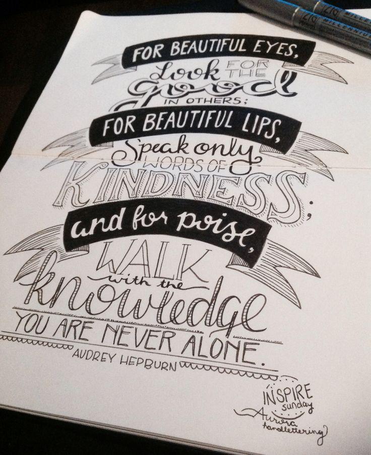 Audrey Hepburn on Beauty - Inspire Sunday 19.1.14 | Aurora Handlettering