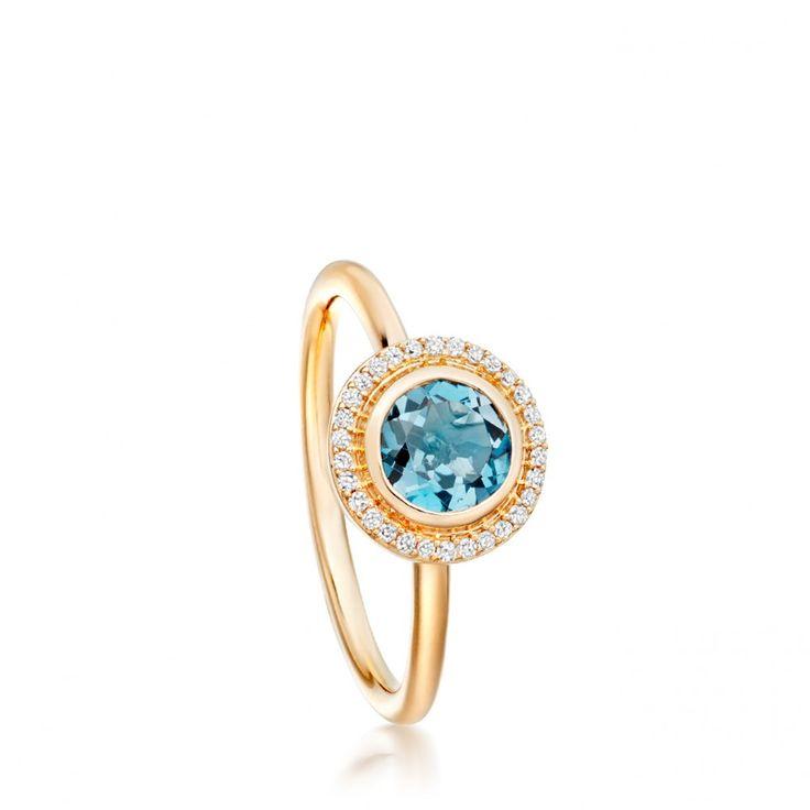 Yellow Gold London Blue Topaz Icon Ring | Astley Clarke London