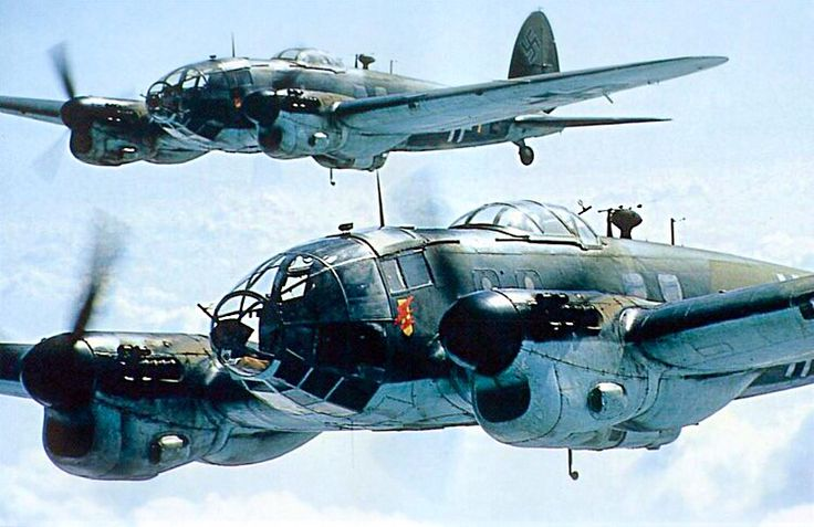 A pair of CASA 2.111 flying a mission during the filming of The Battle of Britain.