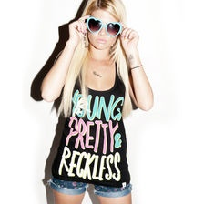 YOUNG PRETTY & RECKLESS shirt with shorts and glasses