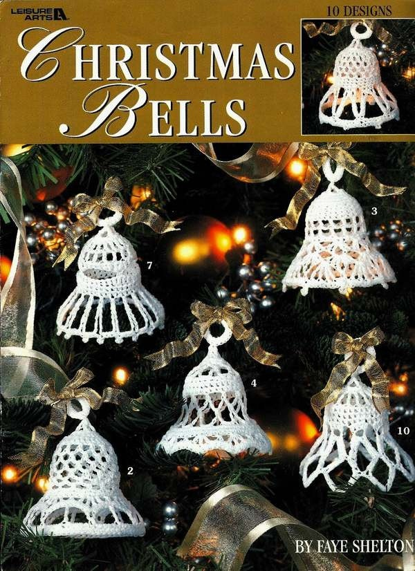 X168 Crochet PATTERN ONLY Christmas Bells Ornament Pattern. $6.95, via Etsy.