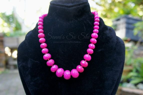 Agate bead necklace - Agate necklace with pink and hot pink semi precious stones. gift for her, pink bead necklace, stone jewellery