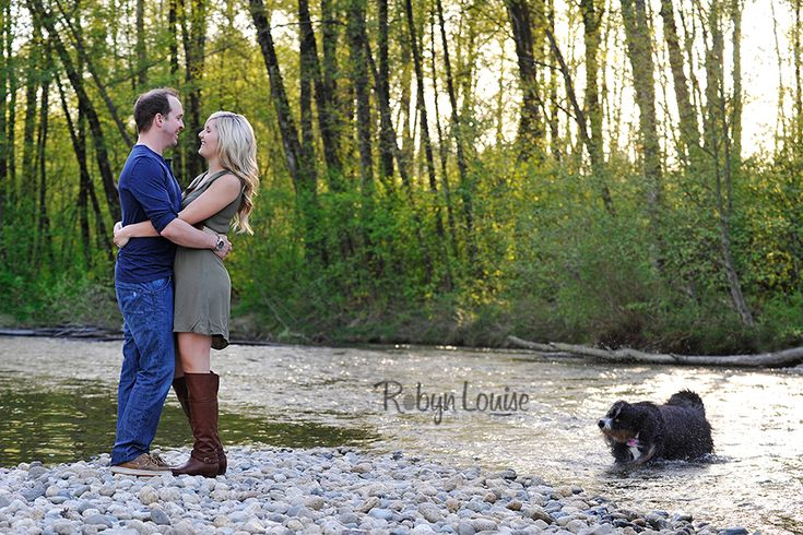 Engagement photography in Port Coquitlam BC at the river with the dog. Quesnel, Williams Lake and Cariboo BC Engagement Photography Photographer.  Available worldwide.  Engagements | Robyn Louise Photography Engagements | Robyn Louise Photography www.robynlouise.com #engagement #bc #williams #lake #photography #quesnel #cariboo #wedding #photographer #robynlouise