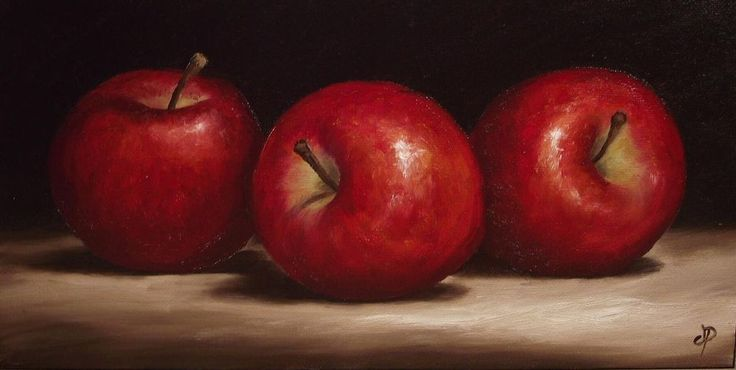 Three Red Apples, J Palmer Original Oil Painting still life Art