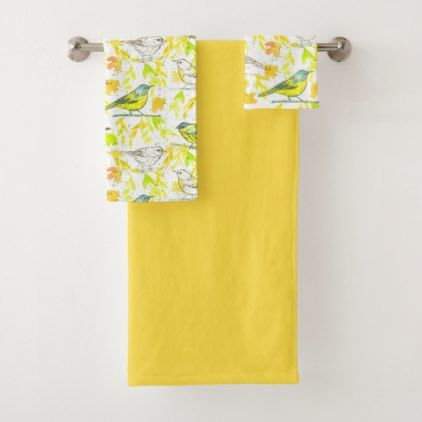 Birds Watercolor Leaves Yellow Bath Towel Set - watercolor gifts style unique ideas diy