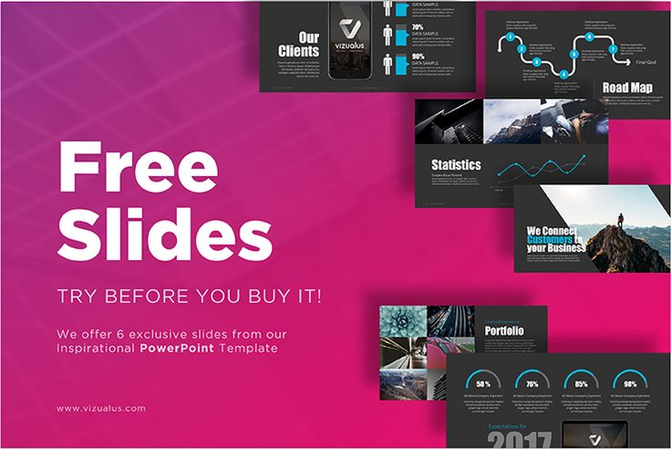Inspirational Powerpoint template is creative and modern item created by Vizualus Team. This freebie offers 6 unique slides with color palette, master slides and handpicked infographics.