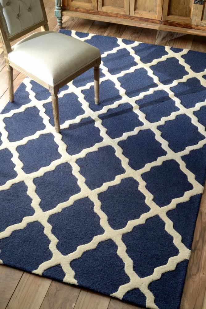 Homespun Moroccan Trellis Blue Rug   Contemporary Rugs #RugsUSA--wool--8 1/2x11 1/2-$1100, but 70% off + free ship.  Also in opposite off white w/blue.