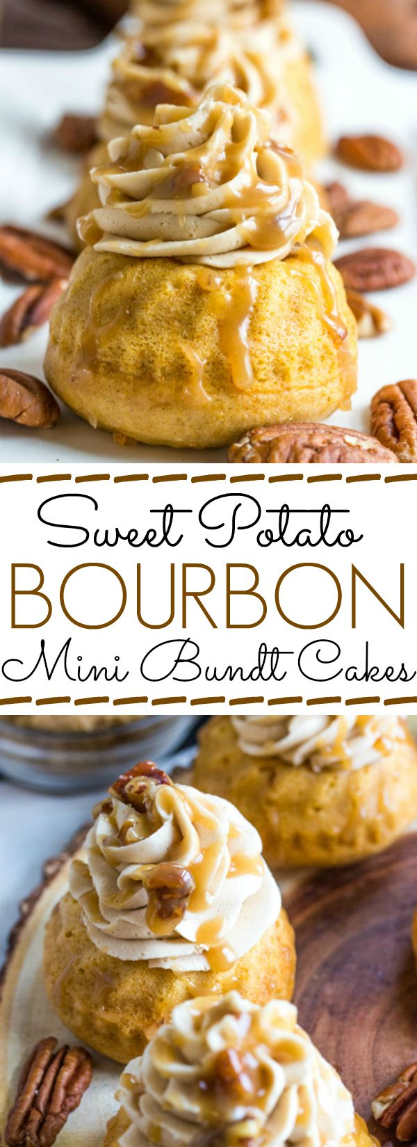 These Sweet Potato Bourbon Mini Bundt Cakes are handheld and topped with maple buttercream and butter pecan topping. A perfect Holiday dessert!