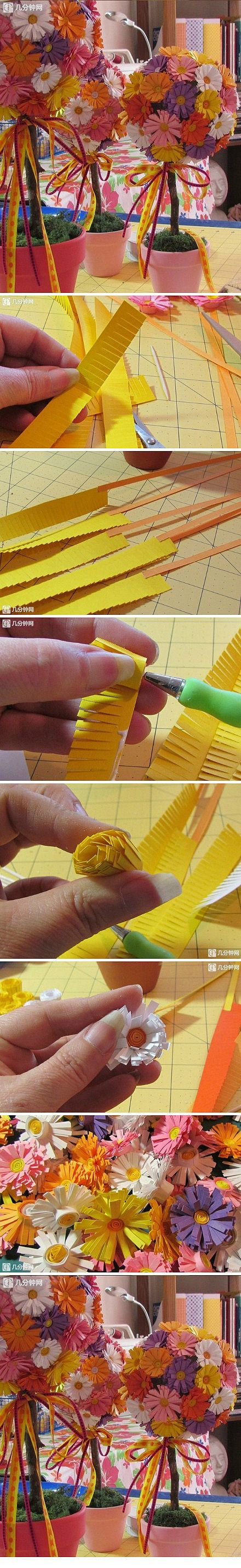 DIY DIY handmade origami paper art Liangtu daisies made of paper, very fresh (via a few network) <br/>