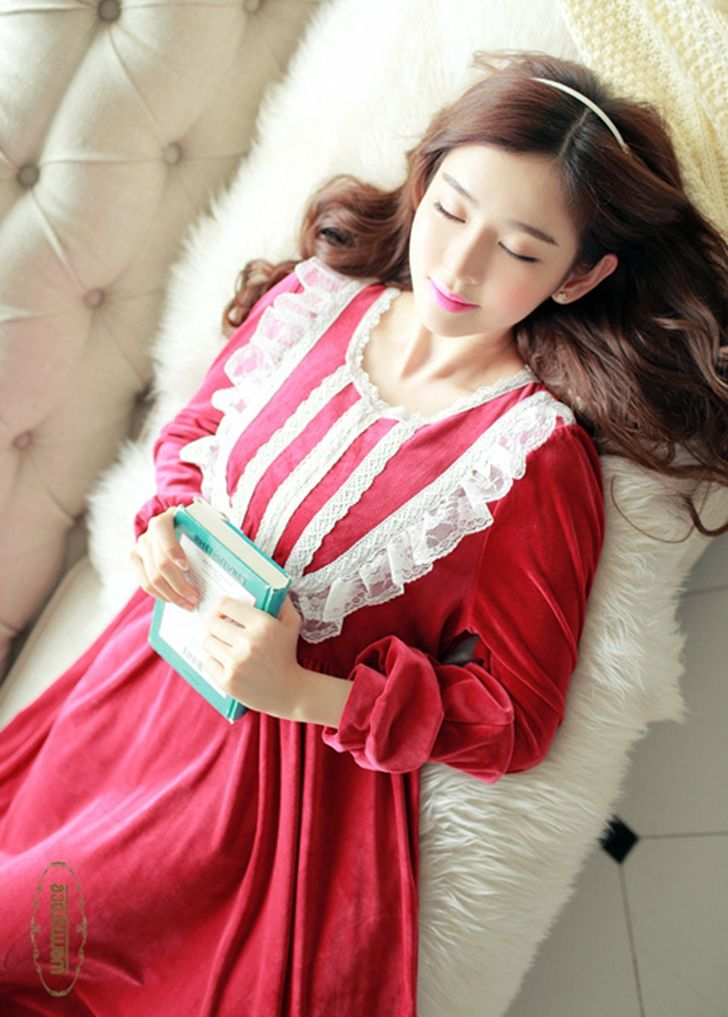 Winter Female Vintage Long Nightdress Princess Full sleeve Sleepwear Women's Lolita Set Home Vestidos camisolas de dormir