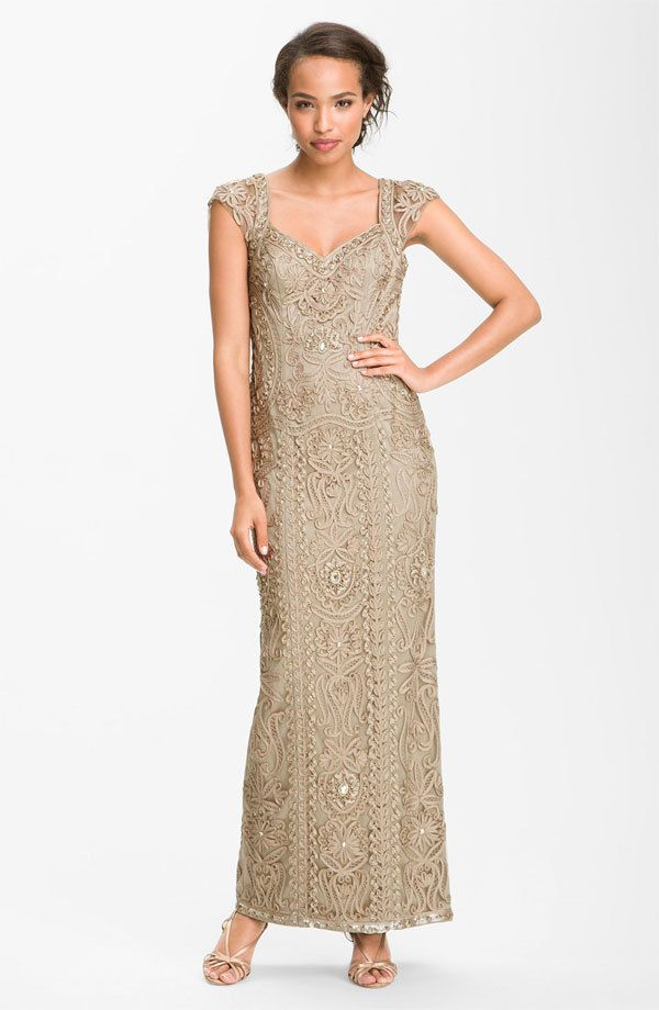 New 598 Sue Wong Open Back Embroidered Gown Ribbon Taupe Size 2 2017 Cur