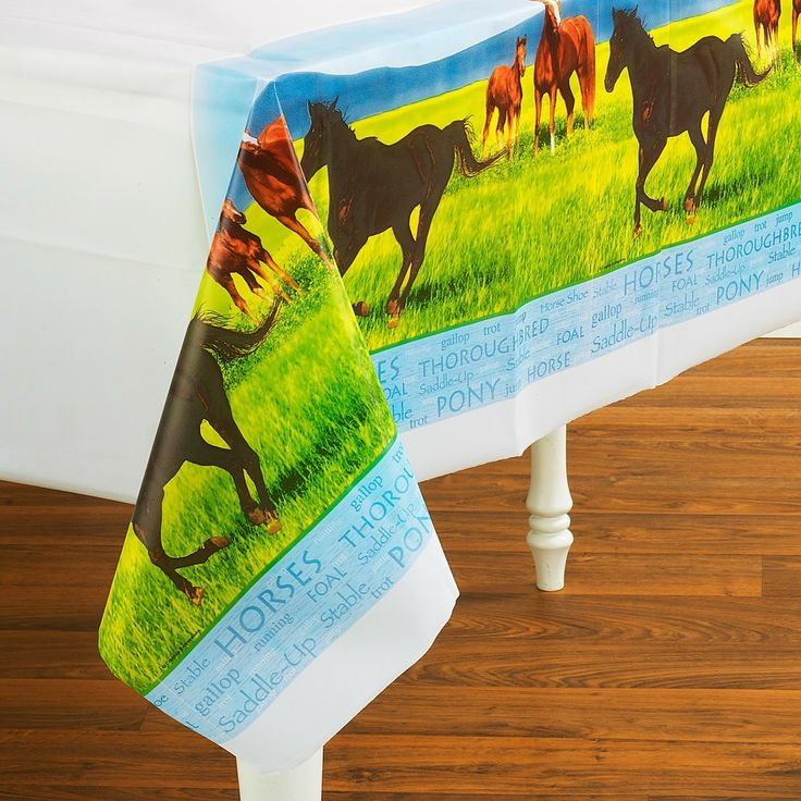 Party Time Celebrations  - Horse Party Plastic Tablecover, $10.95 (http://www.partytimecelebrations.com.au/horse-party-plastic-tablecover/)