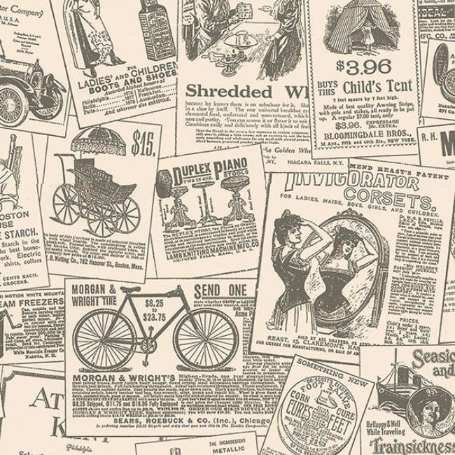 Manhattan Comfort Cooper and White Paper-backed Vinyl 32.7-feet x 20.5-inch Vintage Newspapers Wallpaper