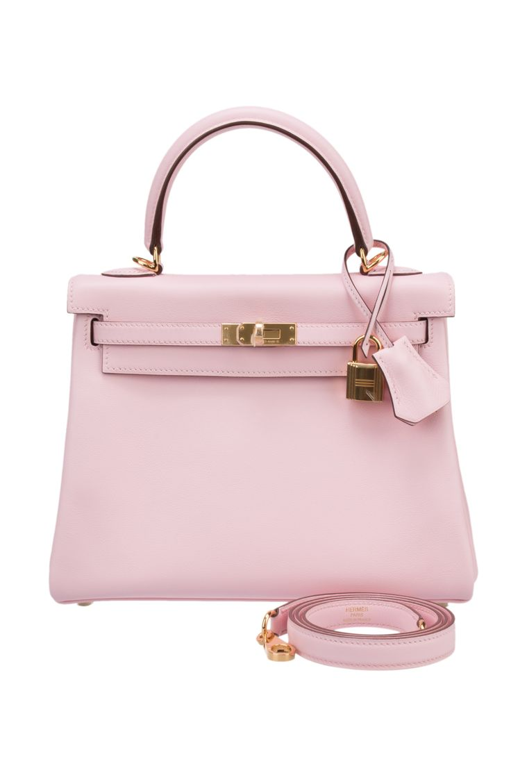 Hermes Rose Sakura Swift 25cm Kelly Bag with Gold Hardware