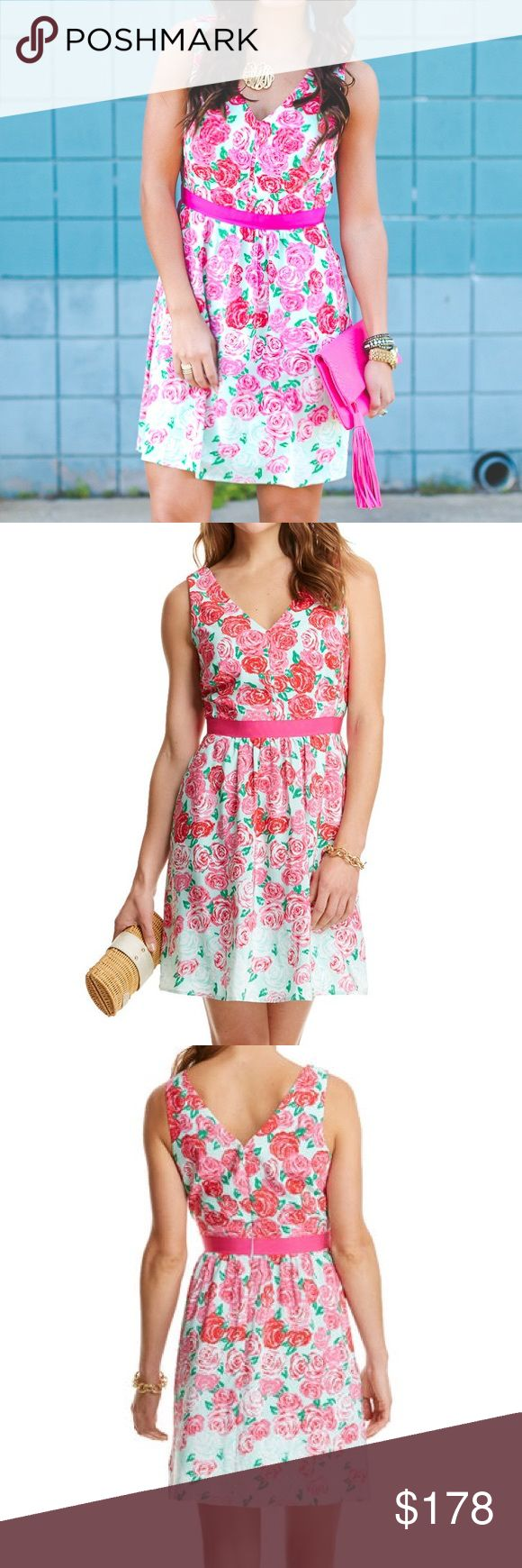 "Run For The Roses Wintermint Dress A Derby stunner! This pure silk dress makes a bold—and beautiful—statement at the Kentucky Derby. Official product of the iconic race and sought after, sold out item! Fully lined. Invisible zipper at center back. Grosgrain ribbon at waist. Pockets at front. Waist {25"".} Length {36"".} Bust {34"".} *Notice: photo eight shows little, little, little hole that came from security tag. Smaller than a needle, tip of pen, etc.--not noticeable but I disclose…"