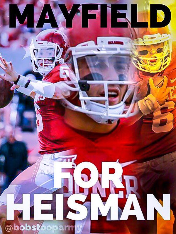 It's been three years. 2015: 4th in Heisman; 2016: 3rd in Heisman; 2017: Heisman front-runner...give him a couple weeks and they'll be making a statue in Norman.