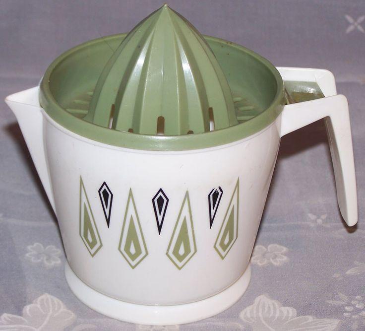 White, green top, diamond design Hostess plastic juicer