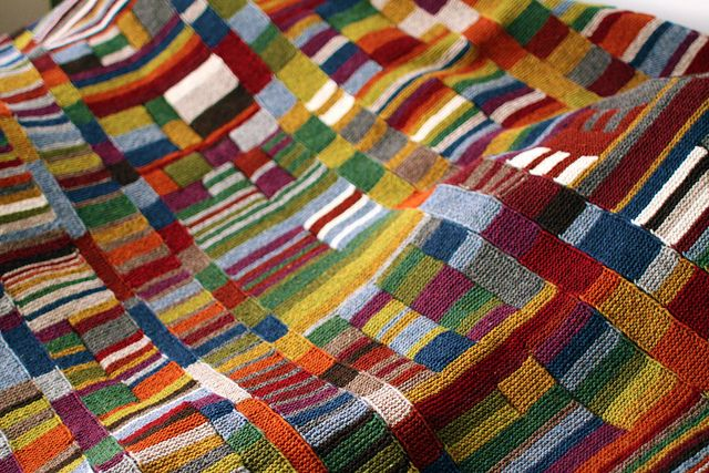 this has to be one of the most fabulous textiles I've seen in ages -- done in Shelter yarns by a quilter and a knitter ... her Flickr photos of her work make you drool :)
