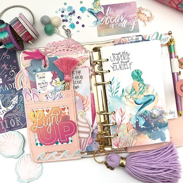 Inside of my @websterspages pink planner with the July planner kit and some of the main scrapbook kit goodies from @cocoa_daisy