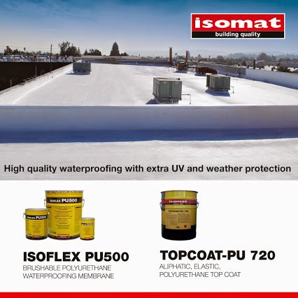 Waterproof your terrace with high-quality materials of exceptional resistance, choosing the solution provided by ISOMAT! For highly demanding waterproofing, apply ISOFLEX PU500, the polyurethane, waterproofing liquid membrane for terraces, and ensure extra UV and weather protection in combination with the elastic, polyurethane coating TOPCOAT-PU 720.