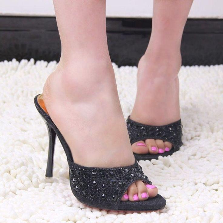 New Korean high-heeled women sexy sandals and slippers diamond elegant fish head waterproof fine with high-heeled sandals alishoppbrasil
