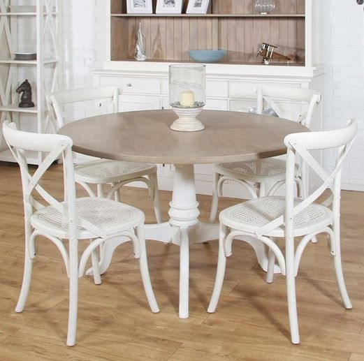 White Wood Dining Room Table: Round Mango Wood Dining Table And White Painted Chairs