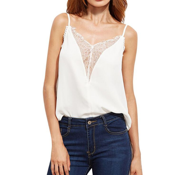 Tank top Women Sexy Chiffon Lace Tank Tops Sleeveless Casual Blouse T-Shirt camisetas mujer blusas femininas baratas 2017 New