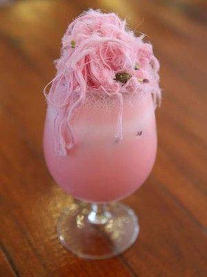 Rosewater milkshake topped with Persian fairy floss.