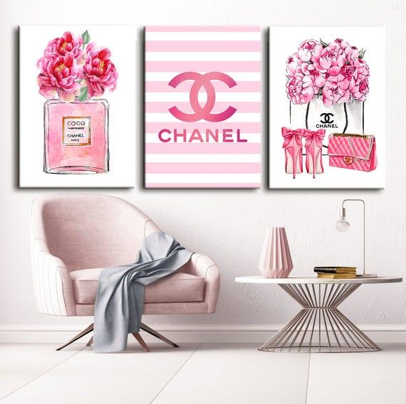 Fashion Wall Art Fashion 3 Set Print Canvas Wall Art Chanel Wall
