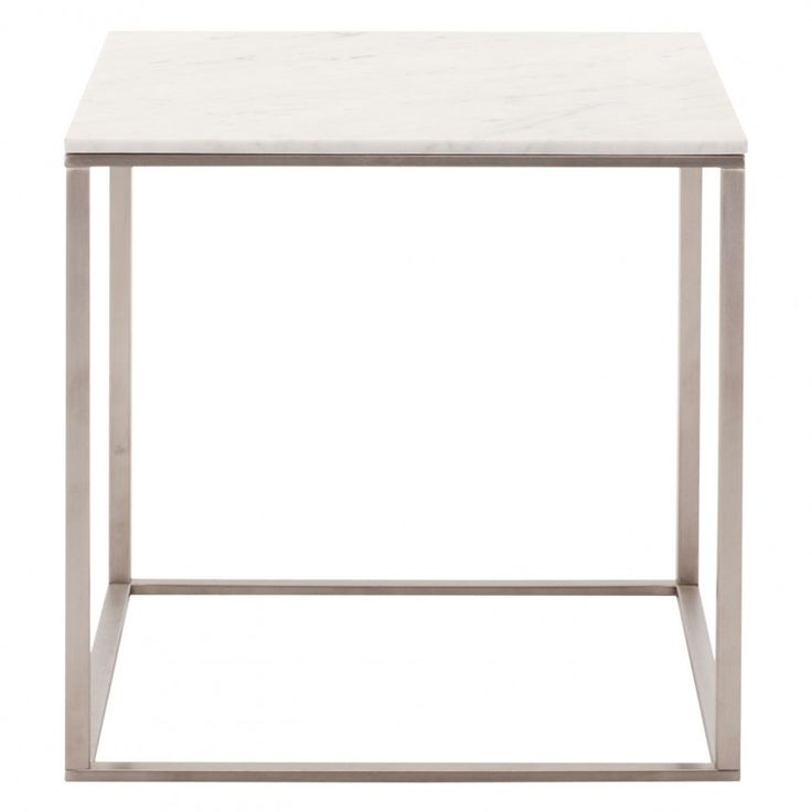 Modern Stainless Steel Minimalista Side Table with Marble Top