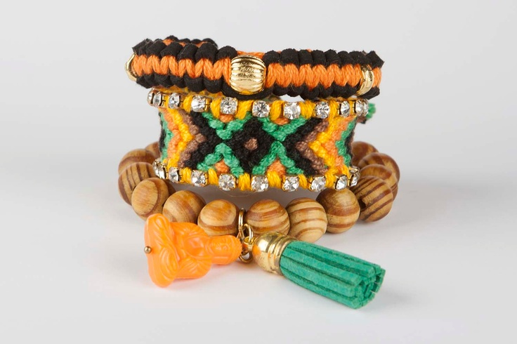 Friendship bracelet Gypsy Soul - Orange / Green
